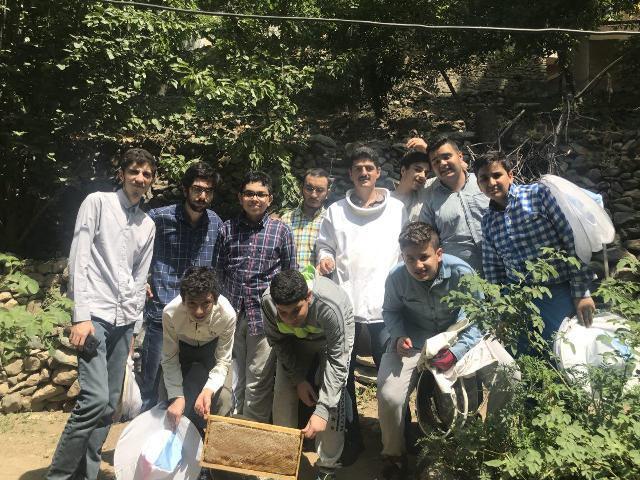 بازدید گروهی دانش آموزان از کندوهای زنبور عسل